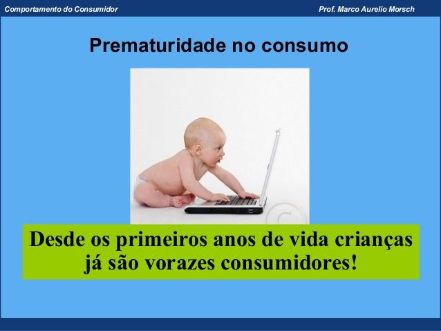 Comportamento do Consumidor              Prof. Marco Aurelio Morsch                    Prematuridade no consumo     Desde ...