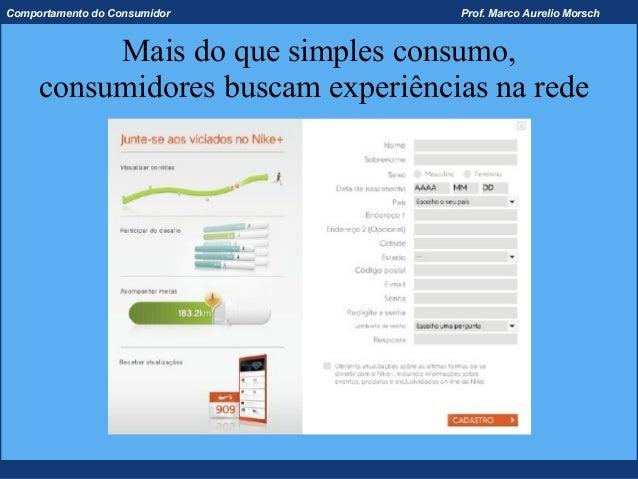 Comportamento do Consumidor        Prof. Marco Aurelio Morsch          Mais do que simples consumo,     consumidores busca...