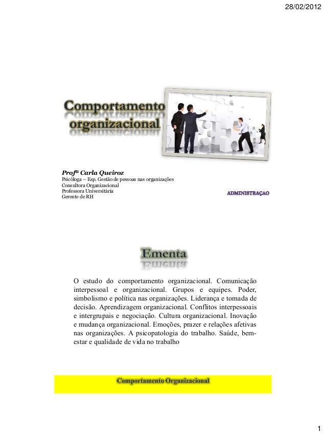 28/02/2012 1 Profª Carla Queiroz Psicóloga – Esp. Gestão de pessoas nas organizações Consultora Organizacional Professora ...
