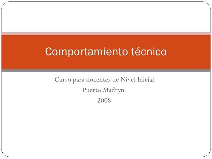 Curso para docentes de Nivel Inicial Puerto Madryn  2008 Comportamiento técnico