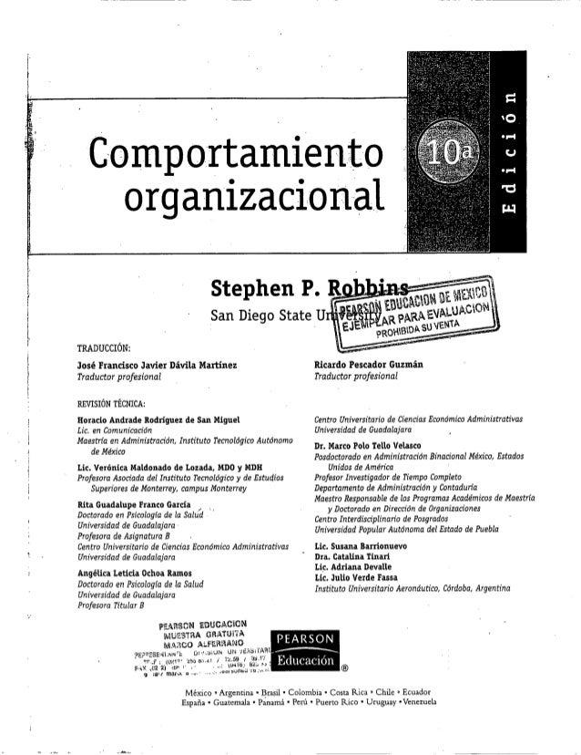 Comportamiento organizacional 10 edicion (stephen robbins) 10 edicion