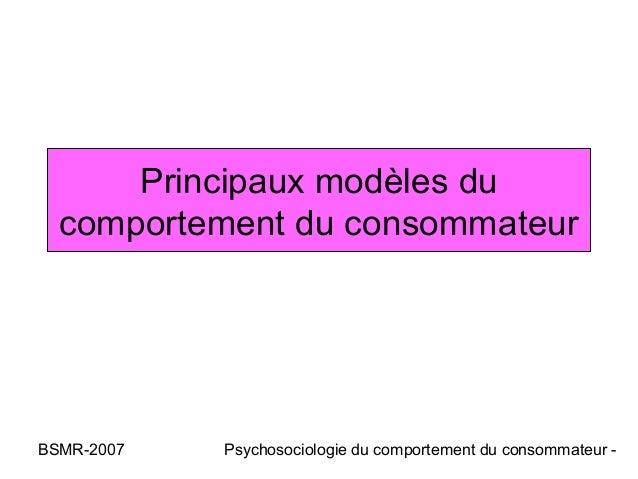 Principaux modèles du  comportement du consommateurBSMR-2007   Psychosociologie du comportement du consommateur -
