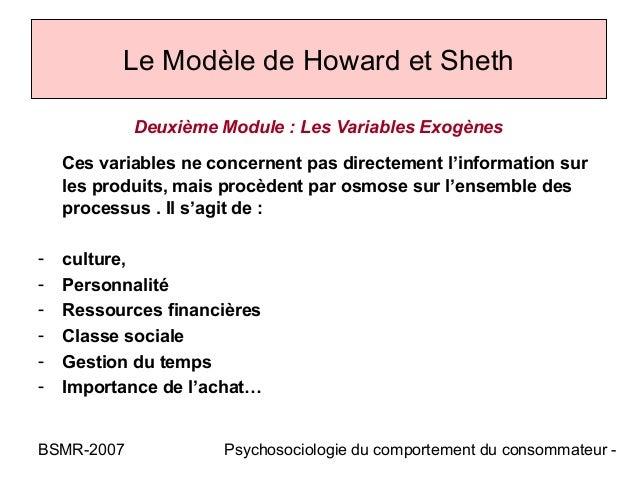 Le Modèle de Howard et Sheth            Deuxième Module : Les Variables Exogènes    Ces variables ne concernent pas direct...