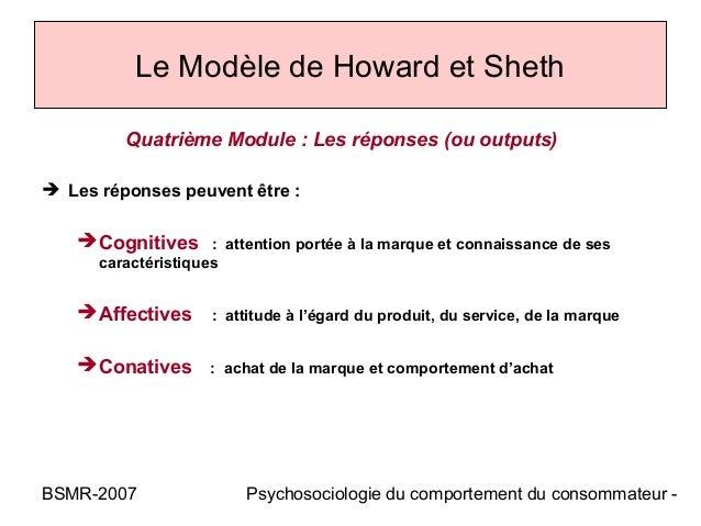 Le Modèle de Howard et Sheth         Quatrième Module : Les réponses (ou outputs) Les réponses peuvent être :    Cogniti...