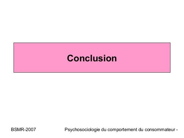 ConclusionBSMR-2007   Psychosociologie du comportement du consommateur -