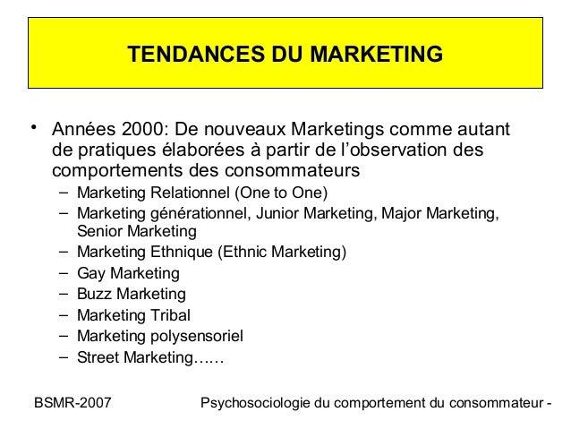TENDANCES DU MARKETING• Années 2000: De nouveaux Marketings comme autant  de pratiques élaborées à partir de l'observation...