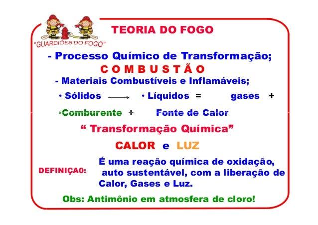 TEORIA DO FOGO - Processo Químico de Transformação;          COMBUSTÃO   - Materiais Combustíveis e Inflamáveis;    • Sóli...