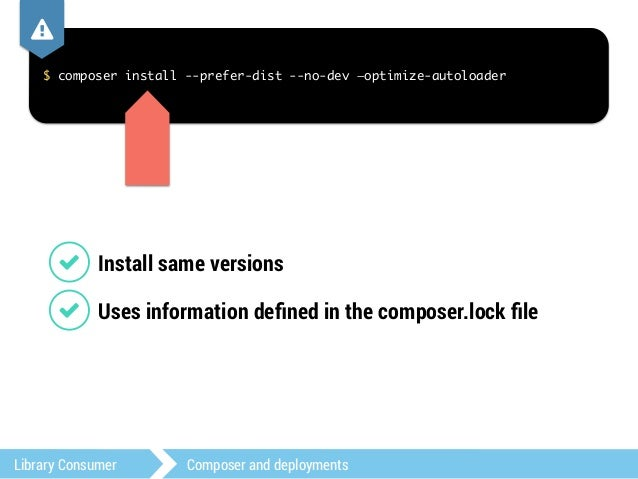 ,  $ composer install --prefer-dist --no-dev —optimize-autoloader  1 Downloads distribution packages  1 Can use local cach...