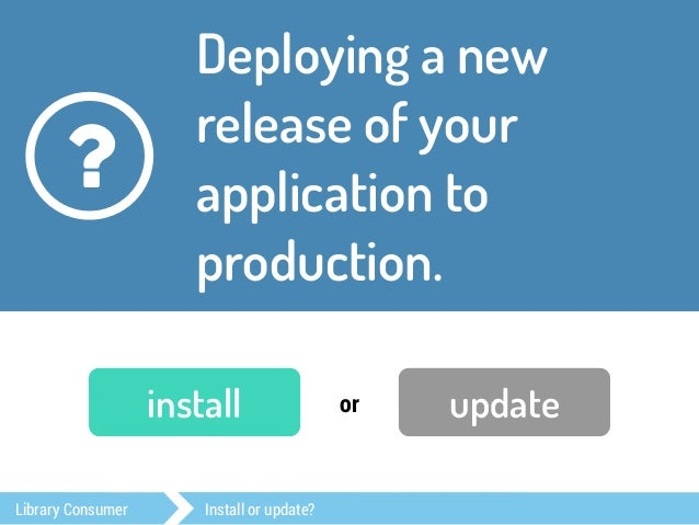 Checked out a new  project and want to  start coding.  ?  install or update  Library Consumer Install or update?