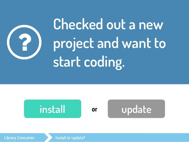 Grab new versions for  the dependencies of  your project.  ?  install or update  Library Consumer Install or update?