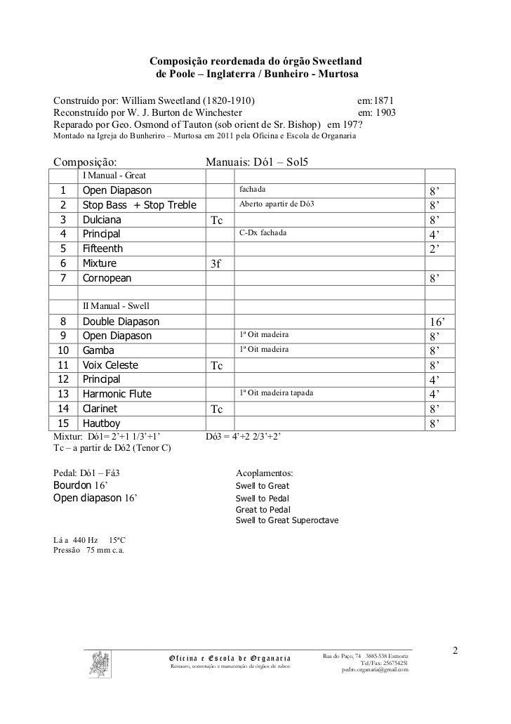 Composição reordenada do órgão Sweetland                            de Poole – Inglaterra / Bunheiro - MurtosaConstruído p...