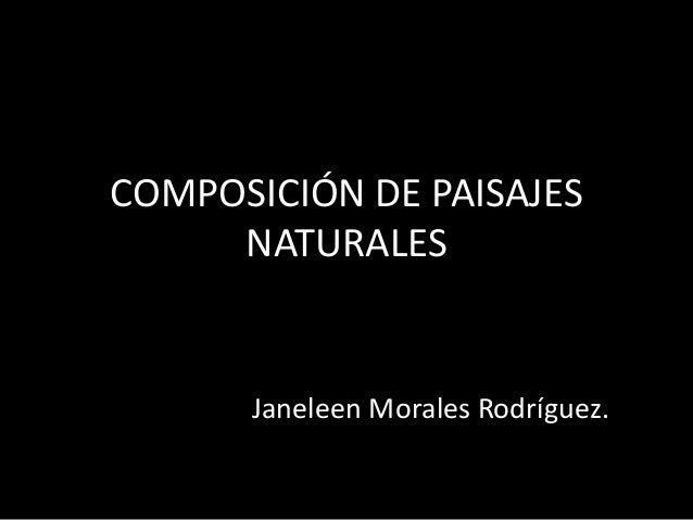 COMPOSICIÓN DE PAISAJES NATURALES Janeleen Morales Rodríguez.