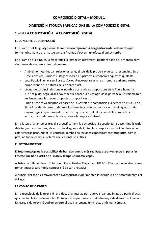 COMPOSICIÓ DIGITAL – MÒDUL 1          DIMENSIÓ HISTÒRICA I APLICACIONS EN LA COMPOSICIÓ DIGITAL1 – DE LA COMPOSICIÓ A LA C...