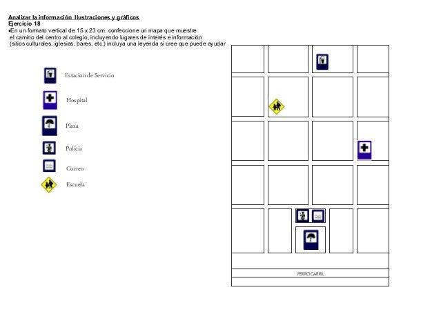 Analizar la información Ilustraciones y gráficosEjercicio 18En un formato vertical de 15 x 23 cm. confeccione un mapa que...