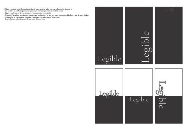 Utilizar la palabra legible con tipografia de palo seco en color blanco sobre un fondo negroSe utiliza un estilo de palo ...