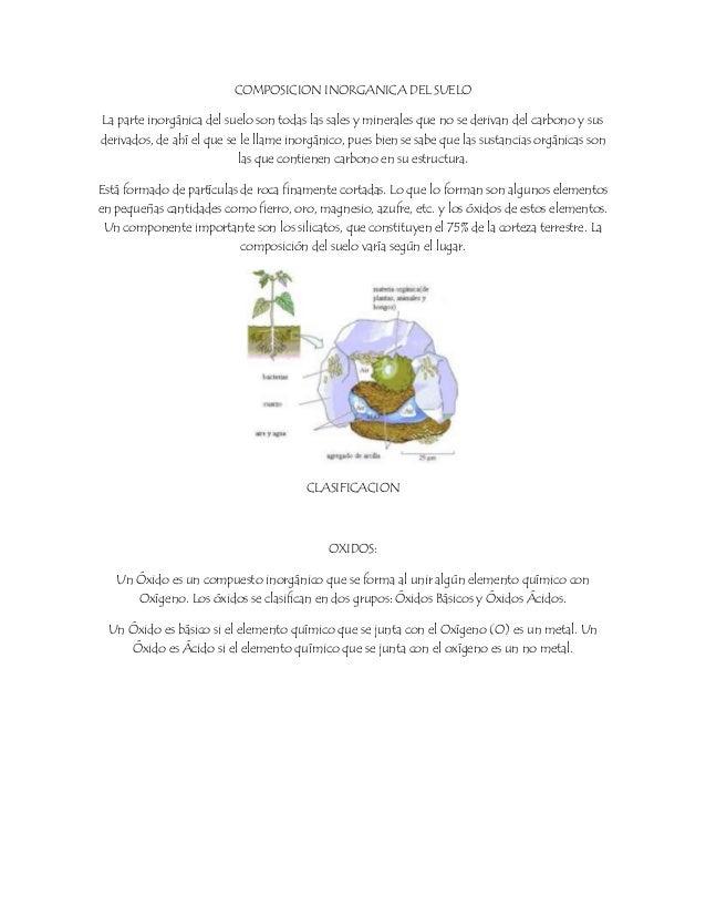 COMPOSICION INORGANICA DEL SUELO La parte inorgánica del suelo son todas las sales y minerales que no se derivan del carbo...