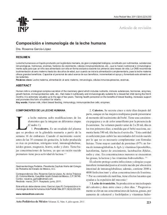 Acta Pediatr Mex 2011;32(4):223-230  Artículo de revisión  Composición e inmunología de la leche humana Dra. Roxanna Garcí...
