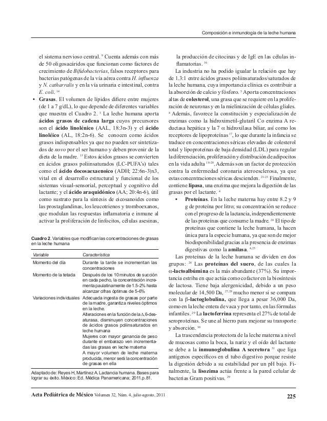 Composición e inmunología de la leche humana  el sistema nervioso central. 9 Cuenta además con más de 50 oligosacáridos qu...