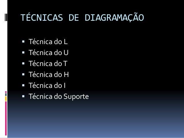 TÉCNICAS DE DIAGRAMAÇÃO  Técnica do L  Técnica do U  Técnica doT  Técnica do H  Técnica do I  Técnica do Suporte