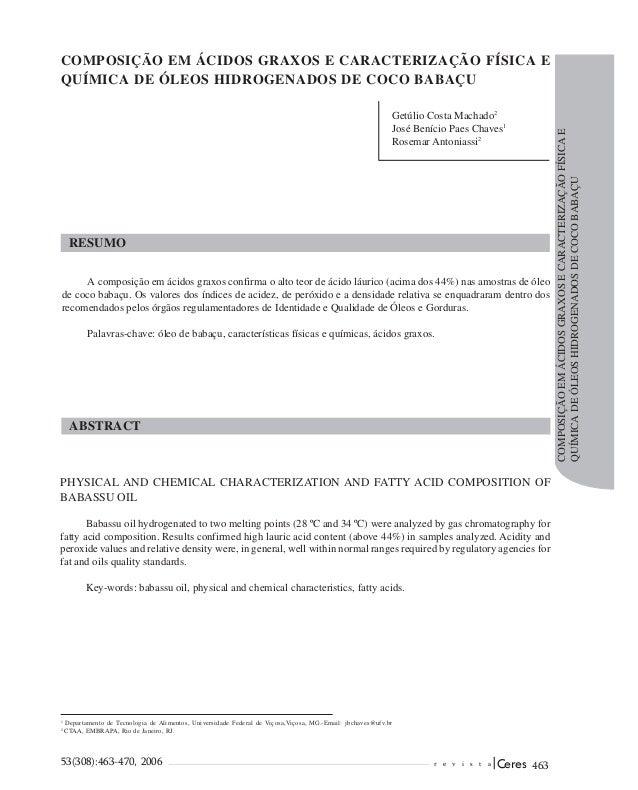 COMPOSIÇÃO EM ÁCIDOS GRAXOS E CARACTERIZAÇÃO FÍSICA EQUÍMICA DE ÓLEOS HIDROGENADOS DE COCO BABAÇU                         ...