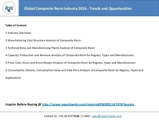 Contact Us : +91-20-67278686 | E-Mail : sales@reportsweb.com Table of Content 1 Industry Overview 2 Manufacturing Cost Str...