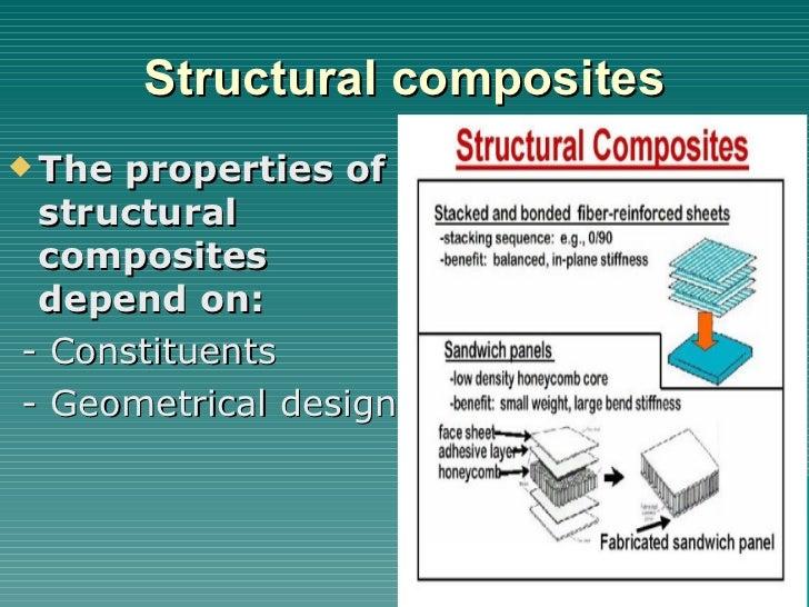 Structural composites <ul><li>The properties of structural composites depend on: </li></ul><ul><li>- Constituents </li></u...