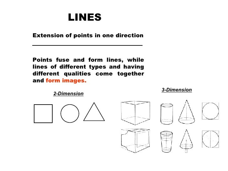 LINES Extension of points in one direction Points fuse and form lines, while lines of different types and having different...