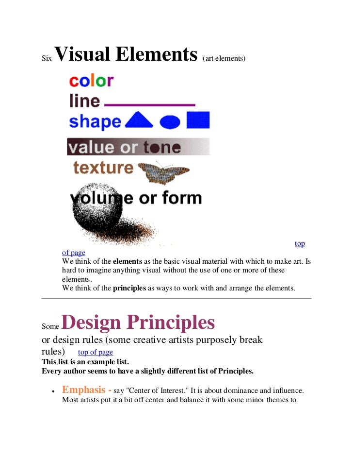 SixVisual Elements(art elements)<br />top of pageWe think of theelementsas the...