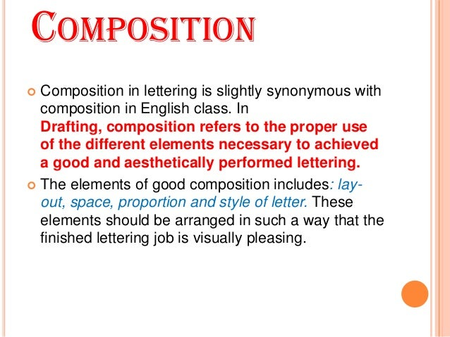 3 COMPOSITION Composition In Lettering