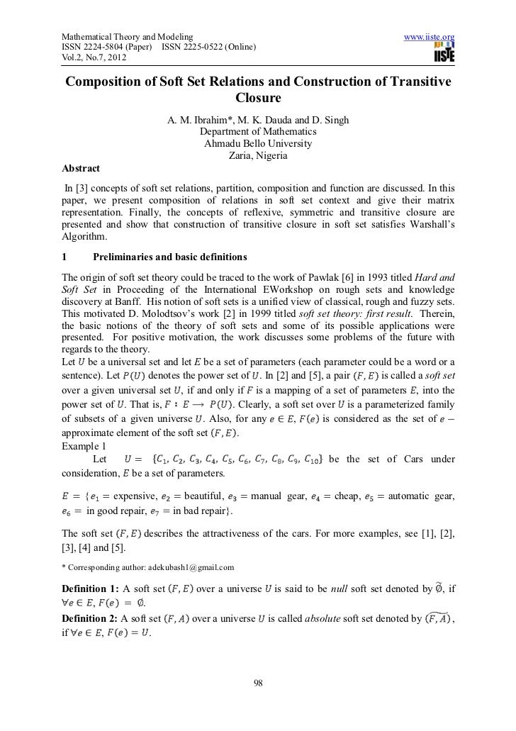 Mathematical Theory and Modeling                                                      www.iiste.orgISSN 2224-5804 (Paper) ...