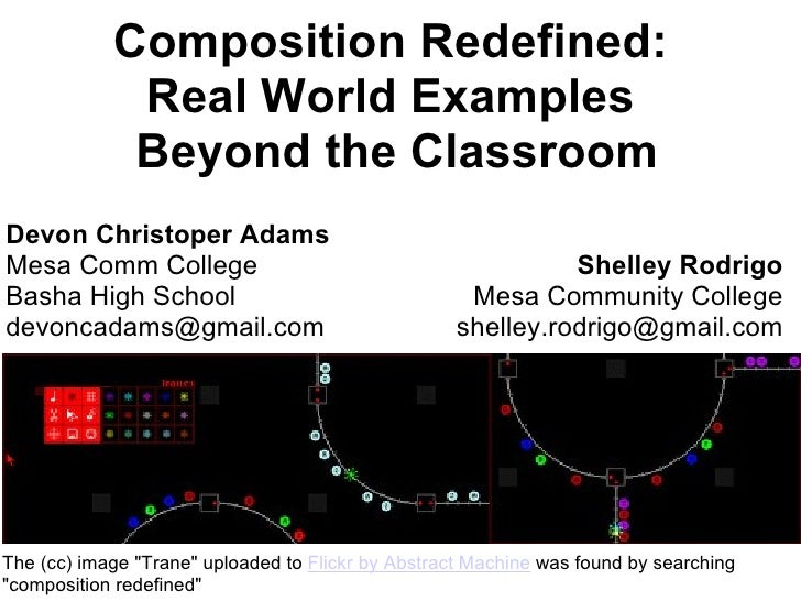 "Composition Redefined:  Real World Examples  Beyond the Classroom The (cc) image ""Trane"" uploaded to  Flickr by ..."