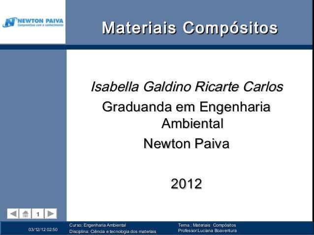Materiais Compósitos                           Isabella Galdino Ricarte Carlos                             Graduanda em En...