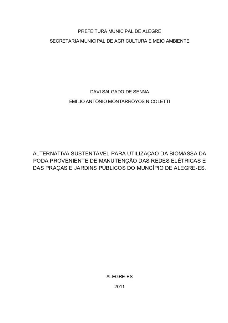 PREFEITURA MUNICIPAL DE ALEGRE     SECRETARIA MUNICIPAL DE AGRICULTURA E MEIO AMBIENTE                   DAVI SALGADO DE S...