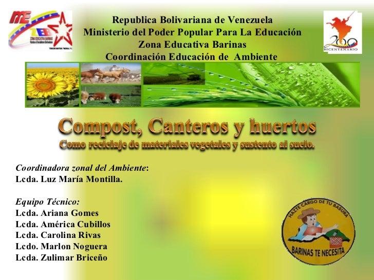 Republica   Bolivariana de Venezuela Ministerio del Poder Popular Para La Educación Zona Educativa Barinas Coordinación Ed...