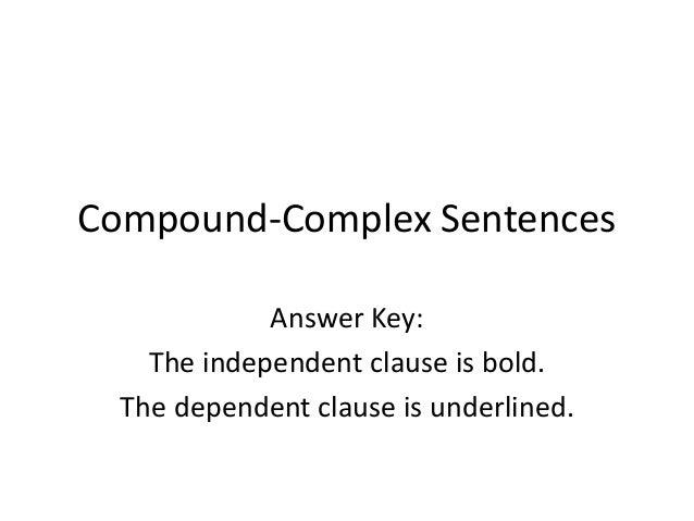 Compound Complex Sentences Answer Key – Compound and Complex Sentence Worksheets