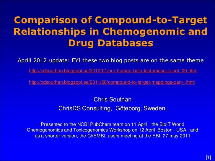 Comparison of Compound-to-TargetRelationships in Chemogenomic and          Drug DatabasesAprill 2012 update: FYI these two...