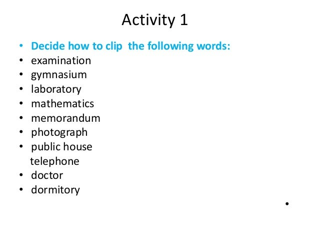 Clipping words examples