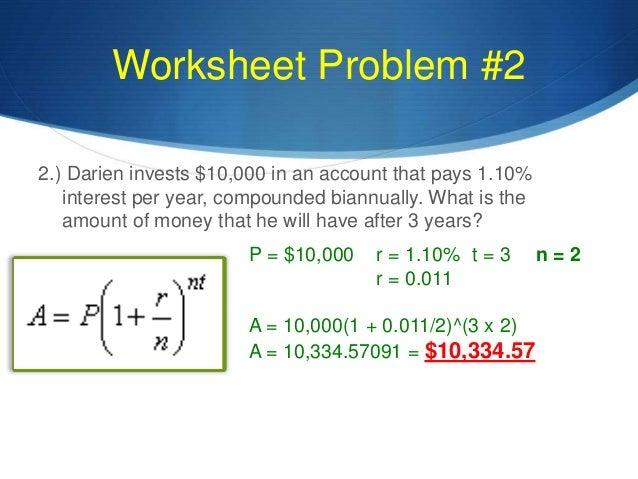 Compound Interest Math Worksheet exponential functions word – Compound Interest Practice Worksheet