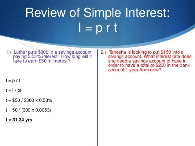 Week 4 Compound interest – Calculating Simple Interest Worksheet