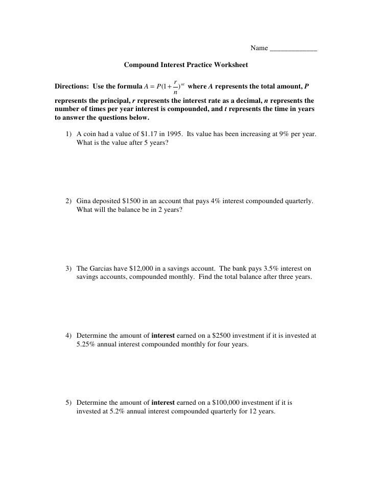 Compound Interest Problems Worksheet Worksheets for all | Download ...