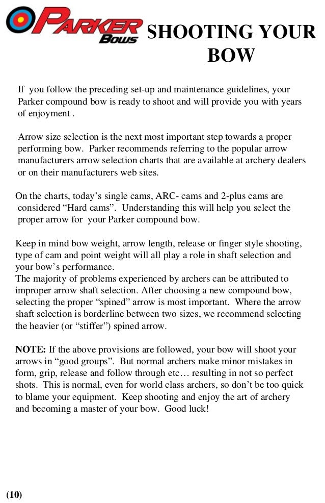 Parker Bows Compound Bow Owners Manual