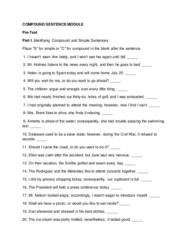 Presentation of Compound Sentences – Compound Sentence Worksheets