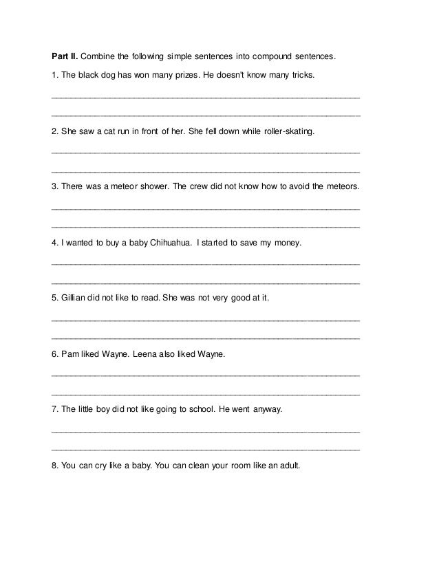 Presentation of Compound Sentences – Fanboys Worksheet