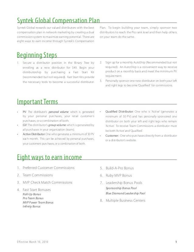 Syntek Global Compensation PlanSyntek Global rewards our valued distributors with the best     Plan. To begin building you...