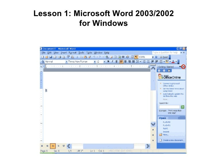 Lesson 1: Microsoft Word 2003/2002 for Windows