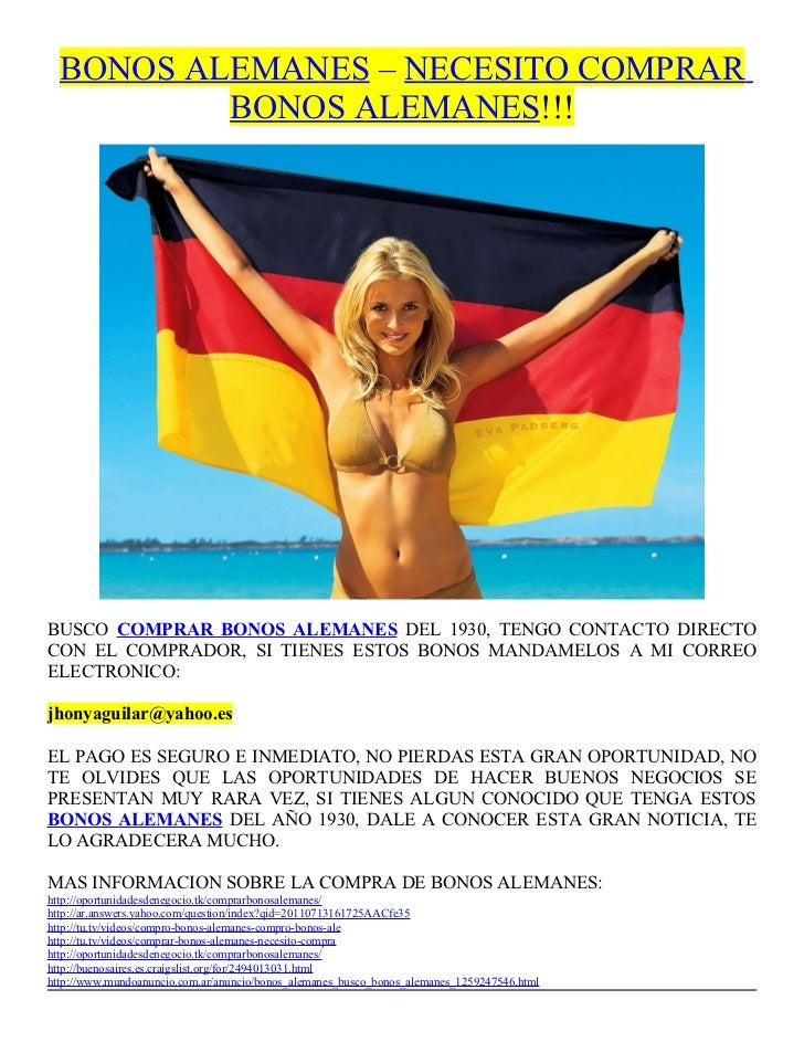 BONOS ALEMANES – NECESITO COMPRAR          BONOS ALEMANES!!!BUSCO COMPRAR BONOS ALEMANES DEL 1930, TENGO CONTACTO DIRECTOC...