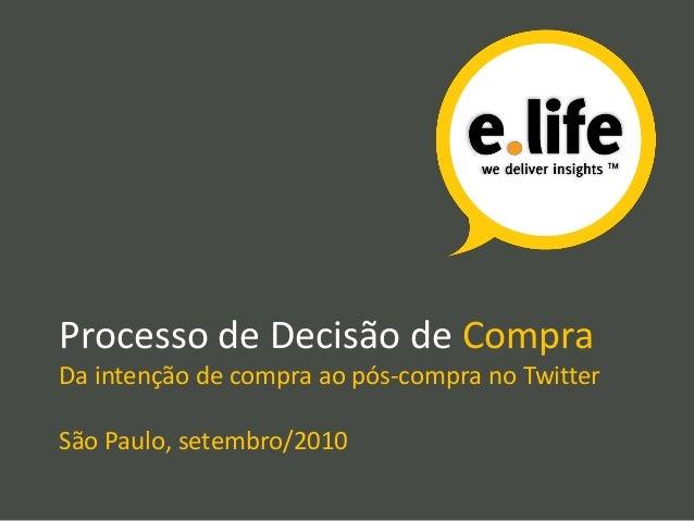 Processo de Decisão de Compra Da intenção de compra ao pós-compra no Twitter São Paulo, setembro/2010