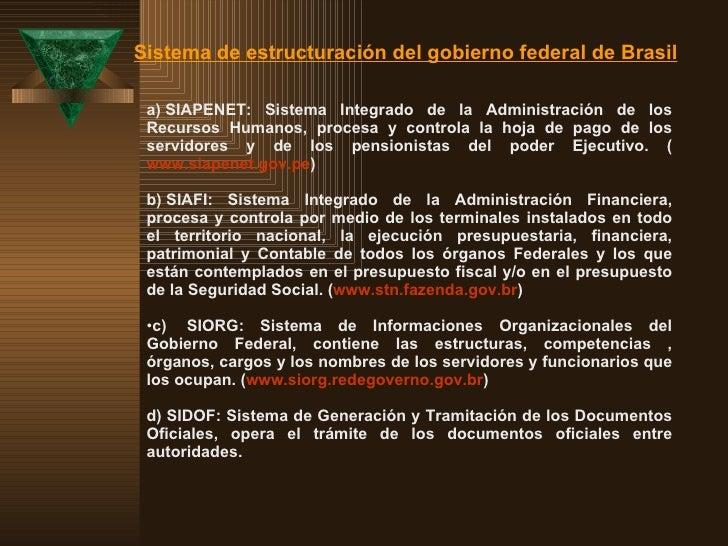 <ul><li>a)  SIAPENET: Sistema Integrado de la Administración de los Recursos Humanos, procesa y controla la hoja de pago ...