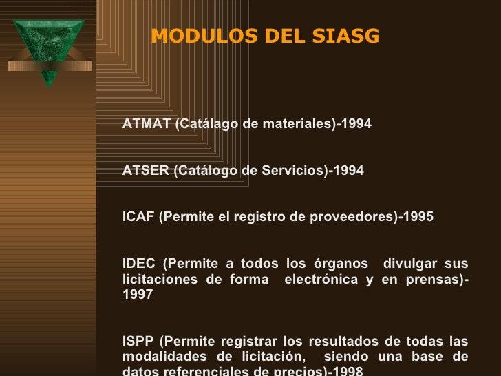 CATMAT (Catálago de materiales)-1994 CATSER (Catálogo de Servicios)-1994 SICAF (Permite el registro de proveedores)-1995 S...