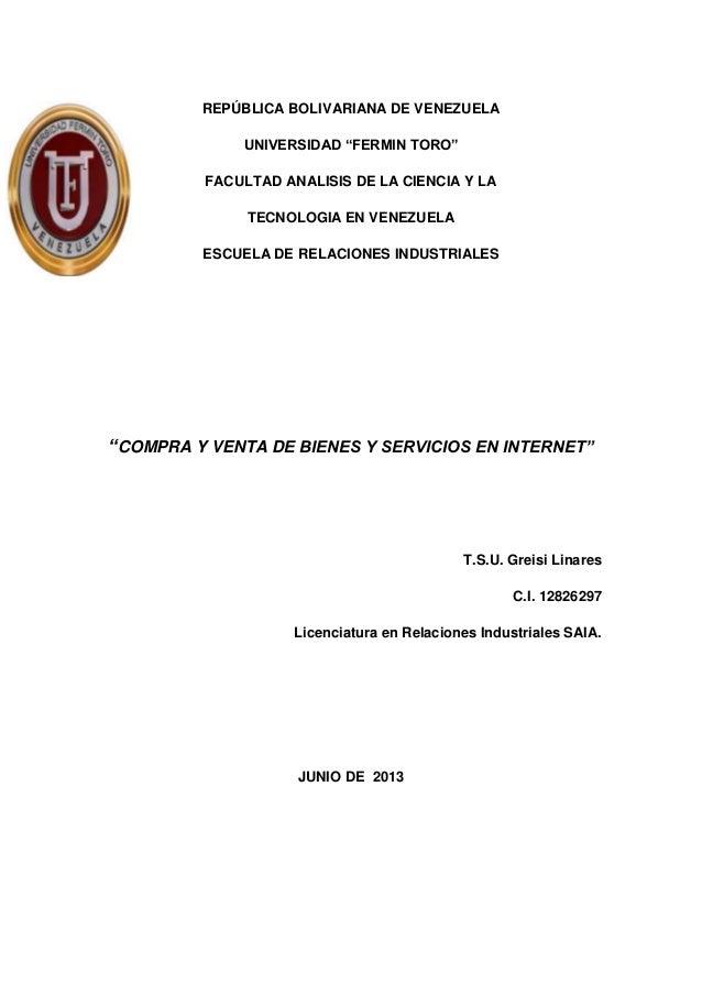 """REPÚBLICA BOLIVARIANA DE VENEZUELA UNIVERSIDAD """"FERMIN TORO"""" FACULTAD ANALISIS DE LA CIENCIA Y LA TECNOLOGIA EN VENEZUELA ..."""